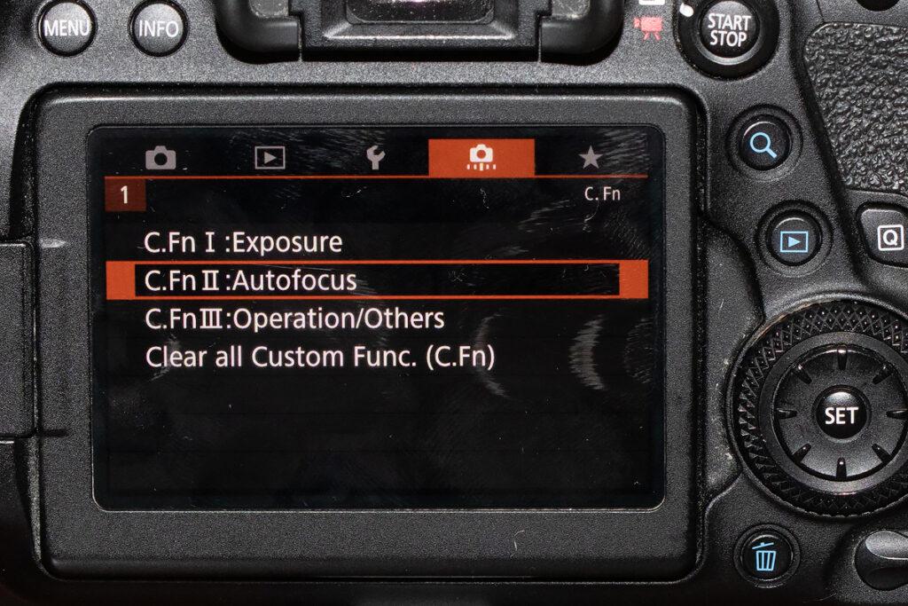 canon 6D II Custon Function Autofocus menu