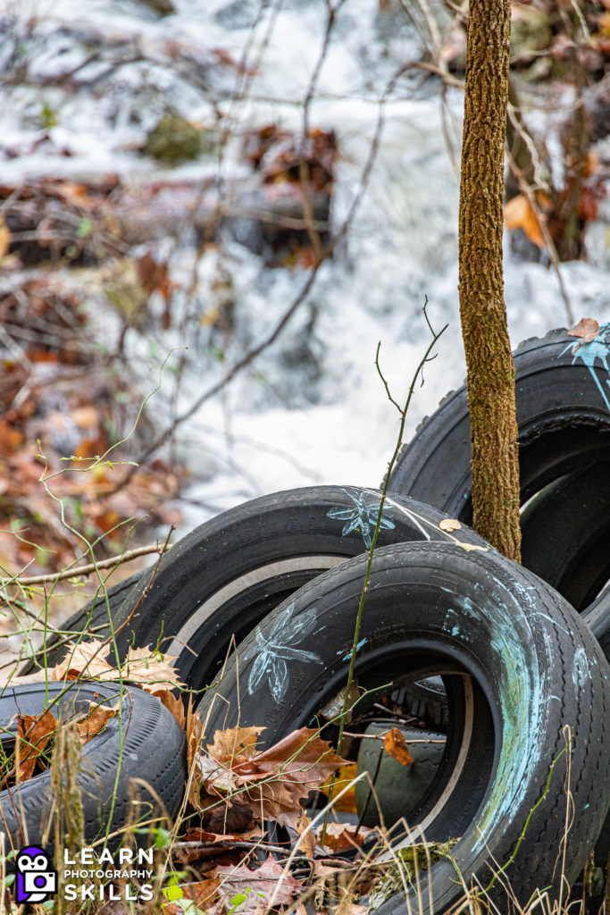 Canon RF 24-240mm Image Example, Old Tire in Stream, Arkansas Ozarks