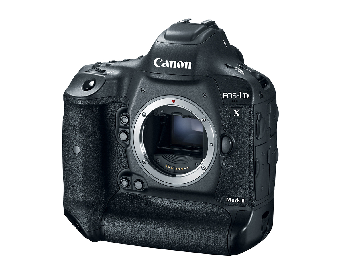 Front quarter view of EOS 1Dx Mark II with no lens
