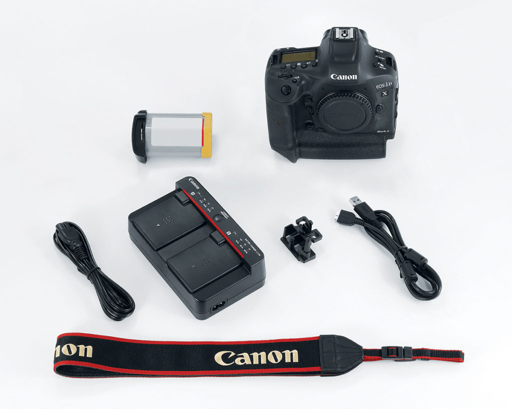 Image of everything included with EOS 1Dx Mark II camera