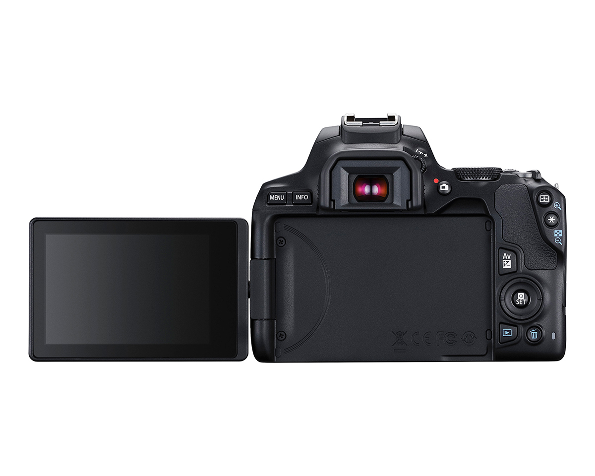 rear view of EOS Rebel SL3 with screen flipped out