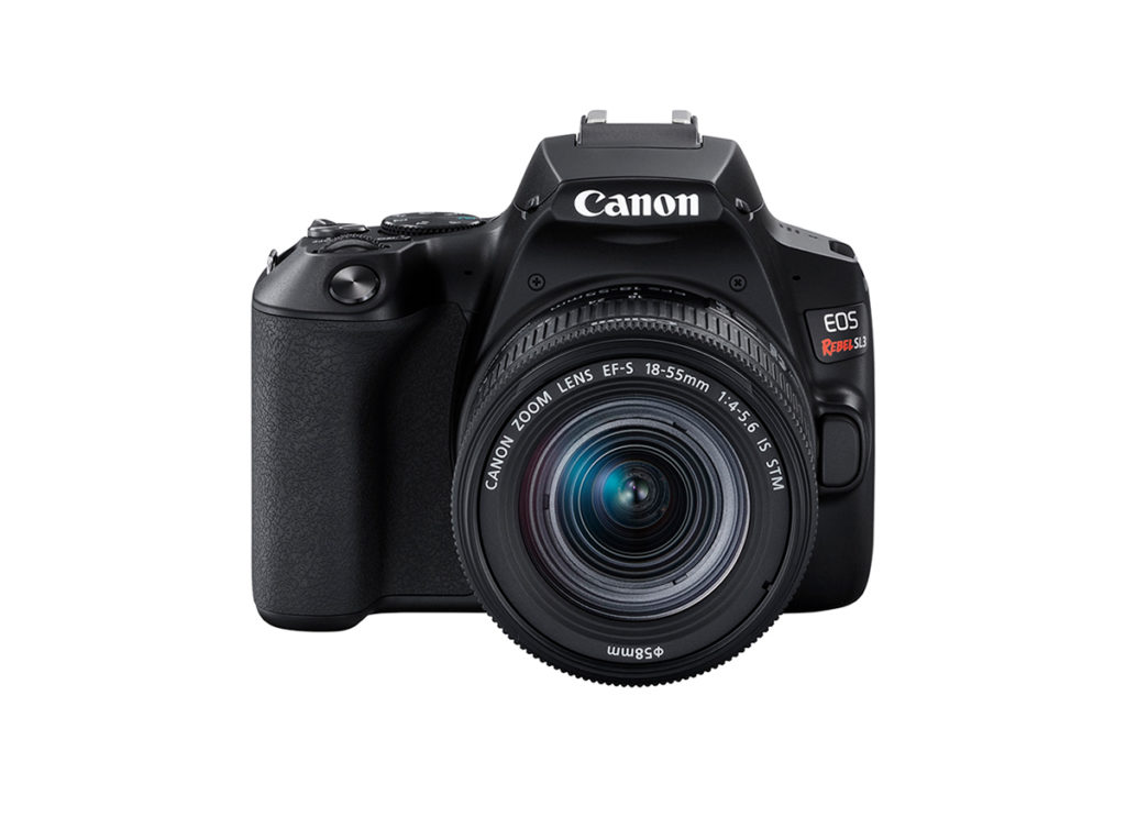 Front view of EOS Rebel SL3 with EF 18-55mm