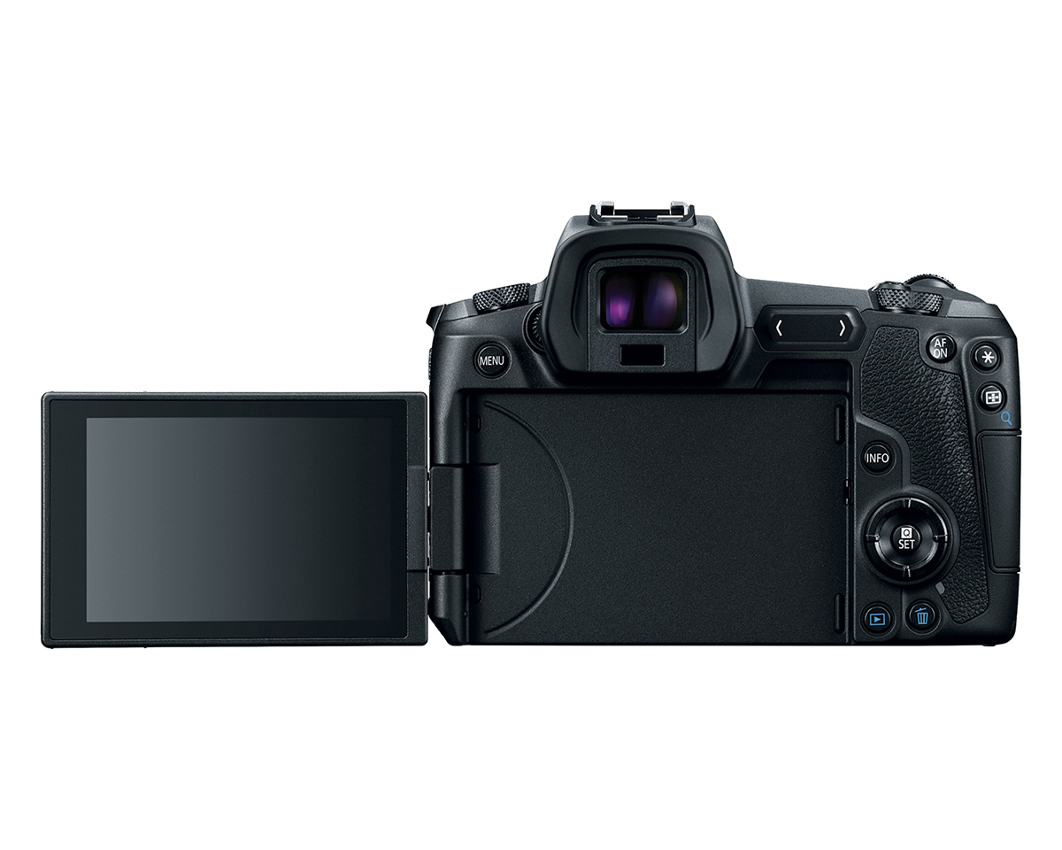 Front View of Canon EOS R with screen flipped out