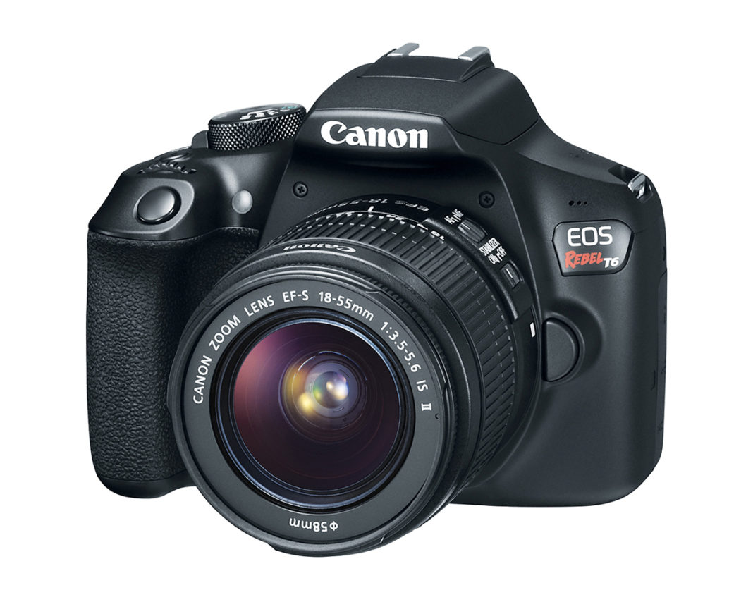 Front quarter view of EOS Rebel T6 with EF 18-55m lens