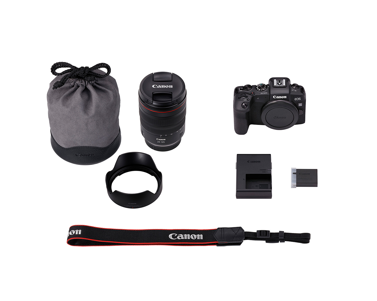 Picture of all items in Canon EOS RP kit with RF 24-105mm L