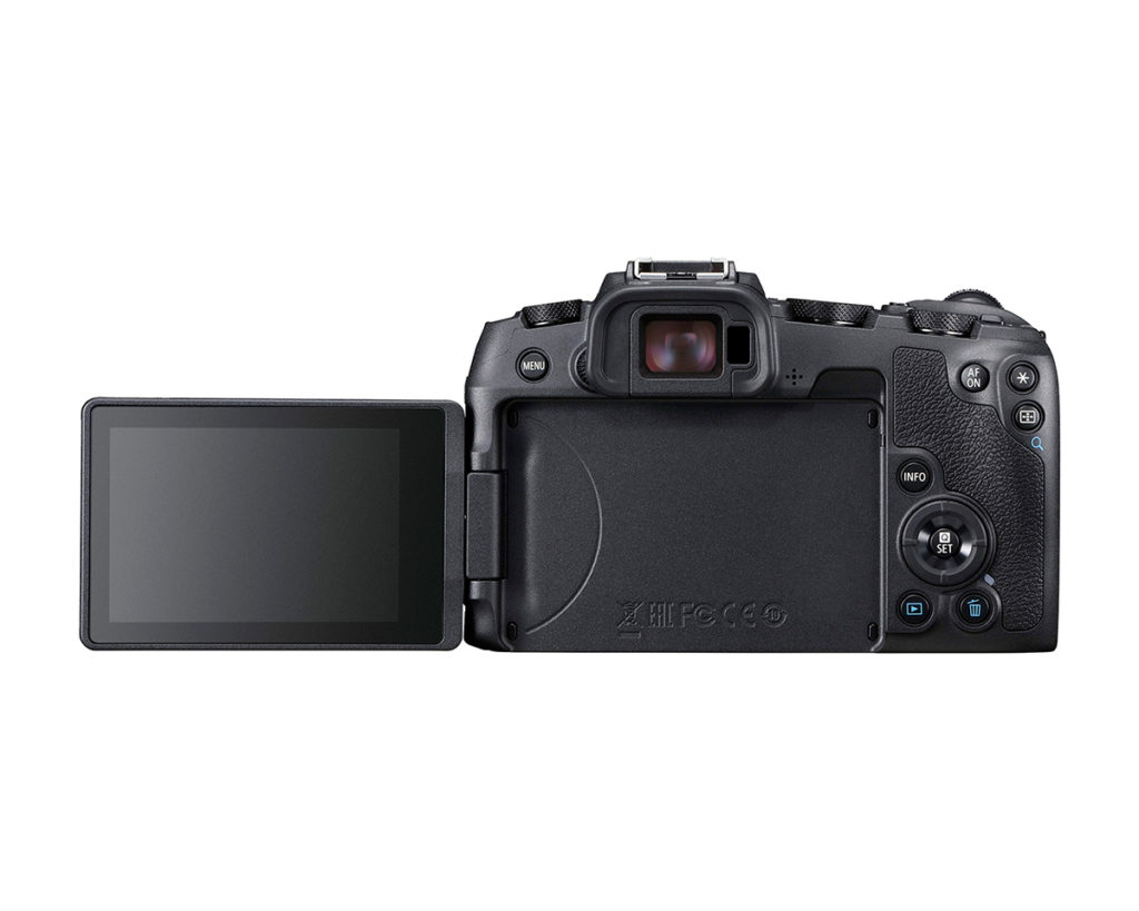 Rear View of Canon EOS RP with screen flipped out