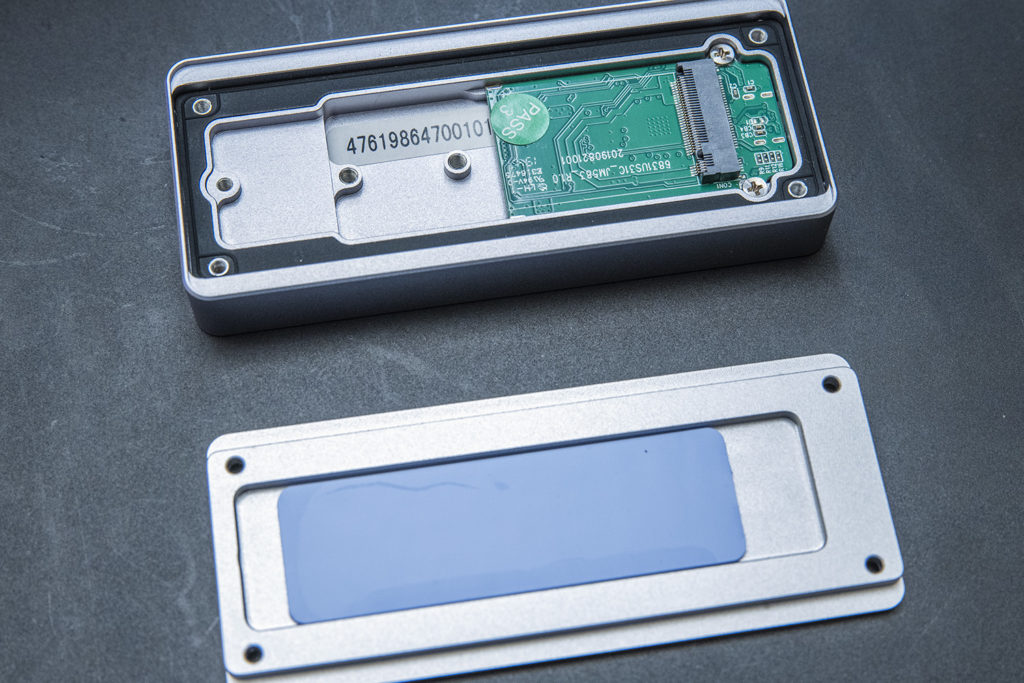 The inside of a USB enclosure.